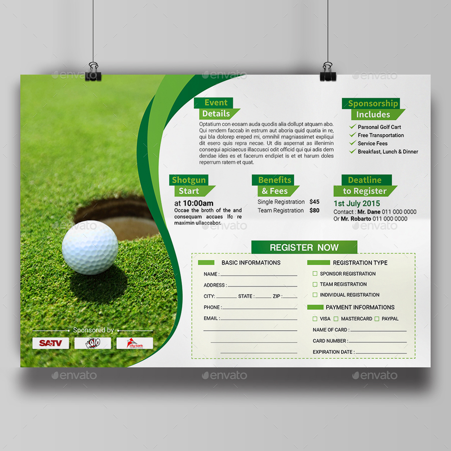 Golf Tournament Flyer Template by aam360 | GraphicRiver