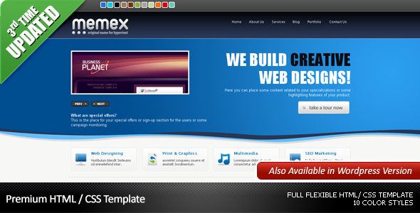 ThemeForest Memex Business & Portfolio & Blog Template 41552