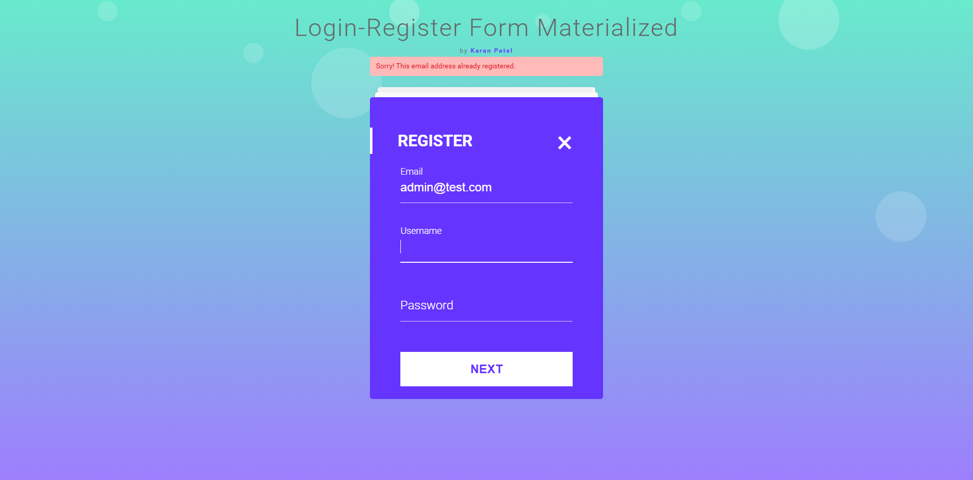 asp net login page template - login registration form in mvc materialize design by