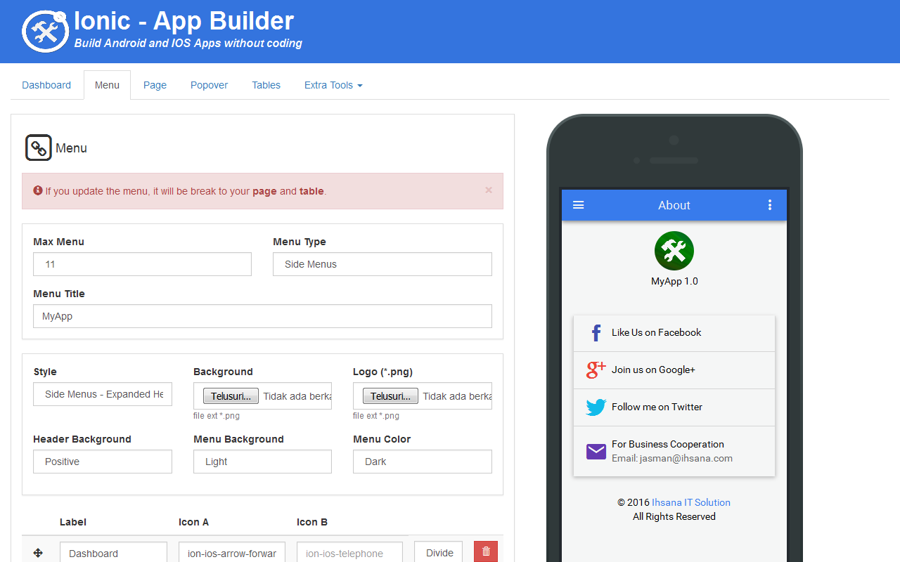 Ionic mobile app builder by codegenerator codecanyon for Build house app
