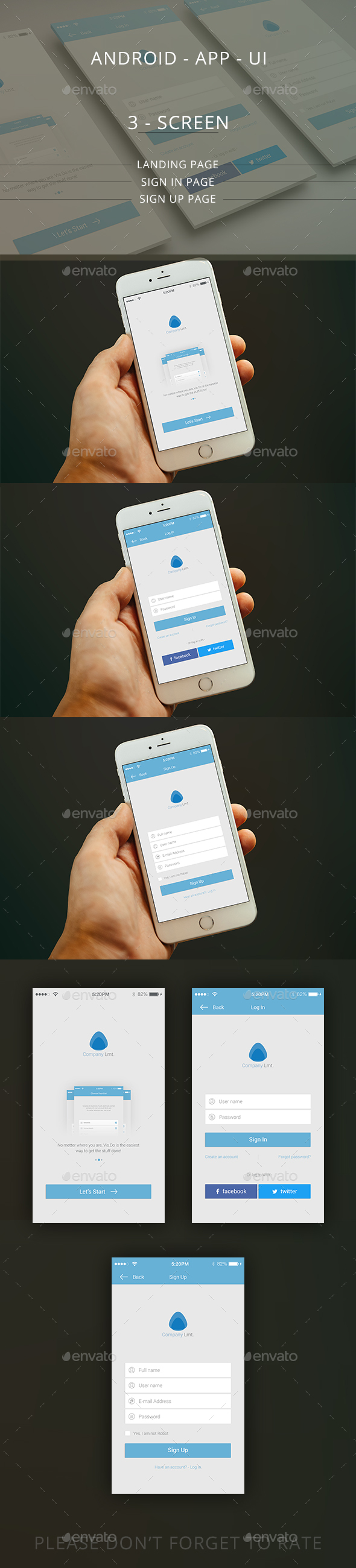 Mobile App UI / Landing/Log in/ Sign up page (User Interfaces)