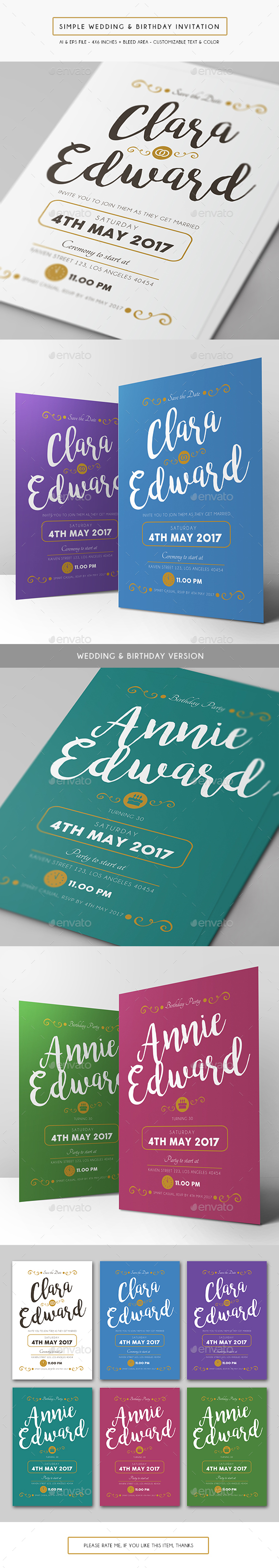 Simple Wedding & Birthday Invitation