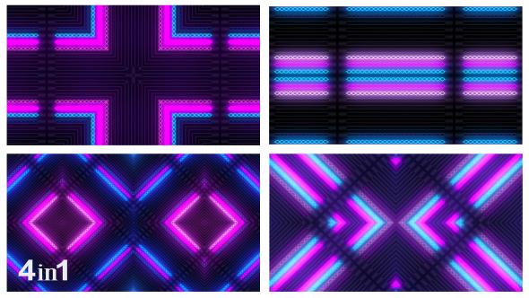 VideoHive Colorful Light Flashing Kaleidoscope 4-Pack 15726663