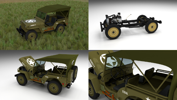 Full (w chassis) Jeep Willys MB Military Top HDRI - 3DOcean Item for Sale