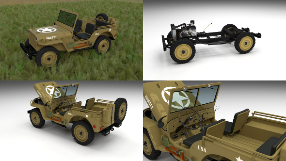 Full (w chassis) Jeep Willys MB Military Desert HDRI - 3DOcean Item for Sale