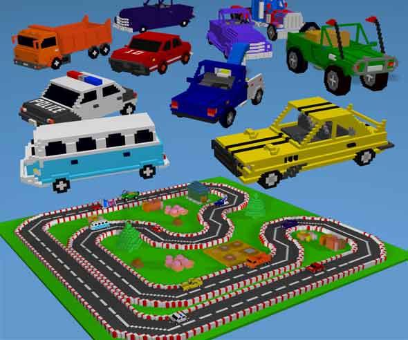 10 Voxel Car Model - 3DOcean Item for Sale