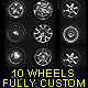Isolated custom wheels pack (2 tires, 10 discs) - GraphicRiver Item for Sale