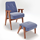Retro Blue Chair and Ottoman