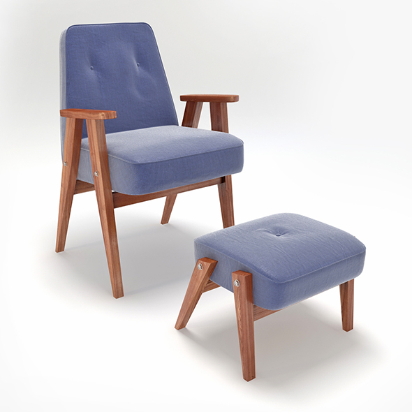 Retro Blue Chair and Ottoman - 3DOcean Item for Sale