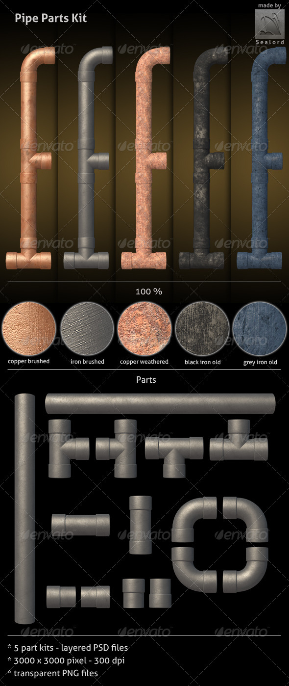 Pipe Parts Kit - Architecture 3D Renders