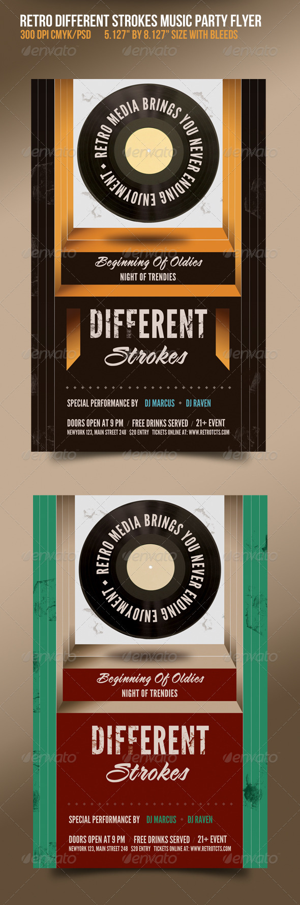 GraphicRiver Different Strokes Retro Music Dance Party Flyer 1575659