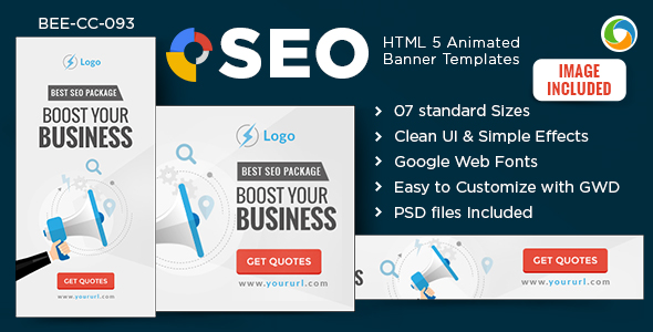 HTML5 SEO Banners - GWD - 7 Sizes