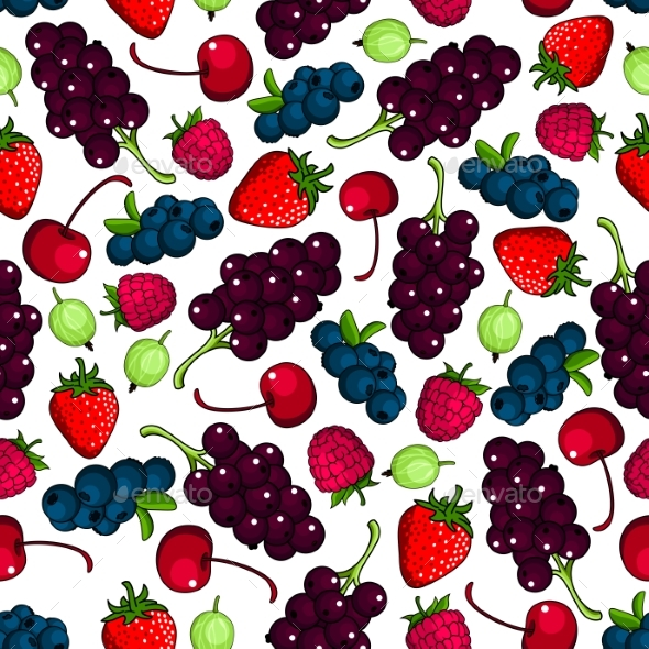 Fresh Berries Fruits Seamless Pattern