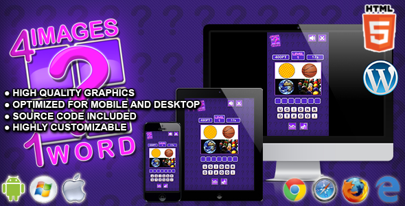 Download 4 Images 1 Word - HTML5 Quiz Game nulled download
