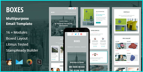 Boxes - Multipurpose Creative Responsive Email Template + Stampready Builder