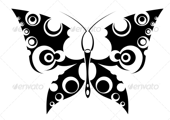 Butterfly tattoo isolated on white