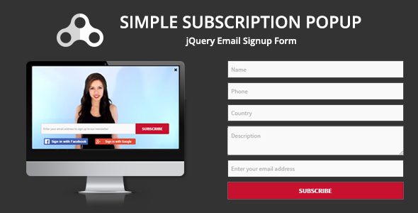 Download Simple Subscription Popup-jQuery Email Signup Form nulled download