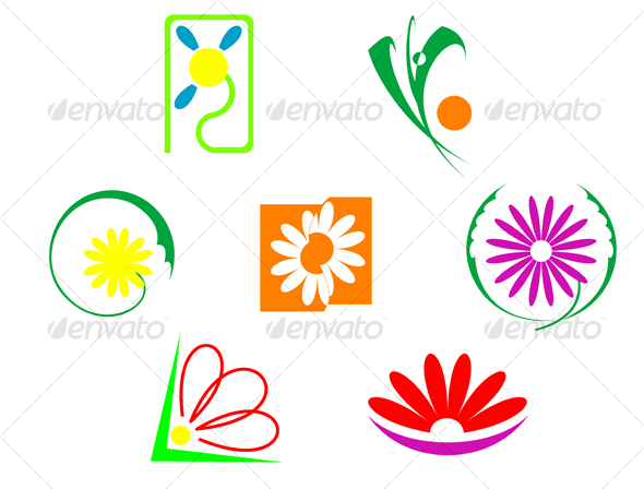 Set of flowers icons - Decorative Vectors