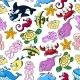 Cartoon Sea Animals Seamless Pattern