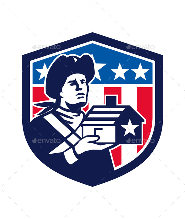 American Patriot Holding House Flag Crest Retro