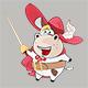 Set of Cartoon Cow King's Musketeers