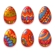 Cartoon Color Eggs for Easter