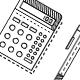 School supplies line vector icons