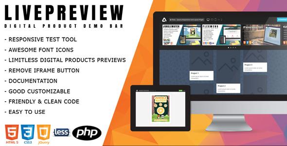 LivePreview - Responsive Digital Product Demo Bar