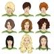 Set of Color Sketch Female Faces