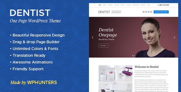 13 - Dentist - Dental One Page WordPress Theme