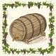 Wooden Oak Barrel with Iron Rims