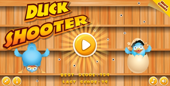 Duck Shooter - HTML5 Game, Mobile Vesion+AdMob!!! (Construct-2 CAPX)