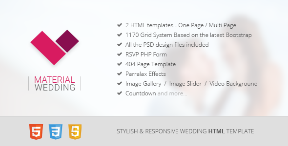 14. Material Wedding - Clean and Beautiful Wedding HTML Template