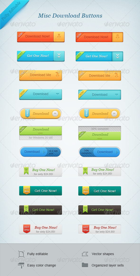 Misc Download Buttons - Buttons Web Elements