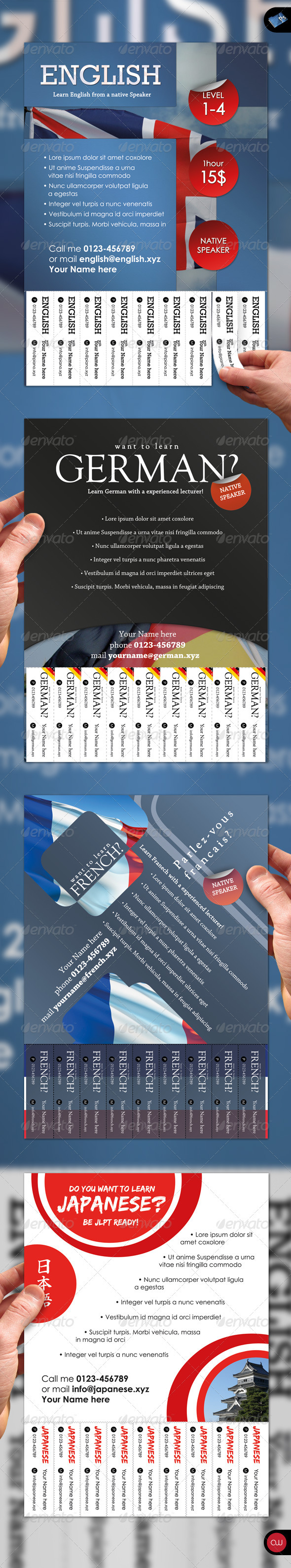 GraphicRiver Tear-Off Flyer Languages 1579222