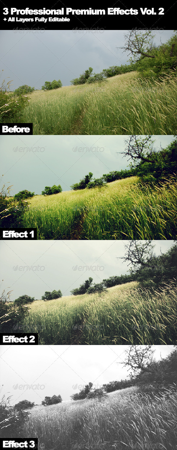3 Professional Premium Effects Vol. 2 - Photo Effects Actions