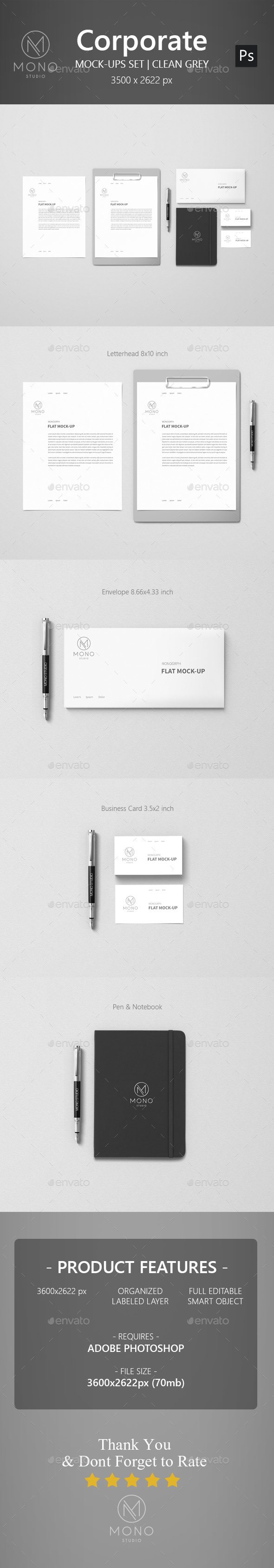 Corporate Mockup - Clean Grey (Stationery)