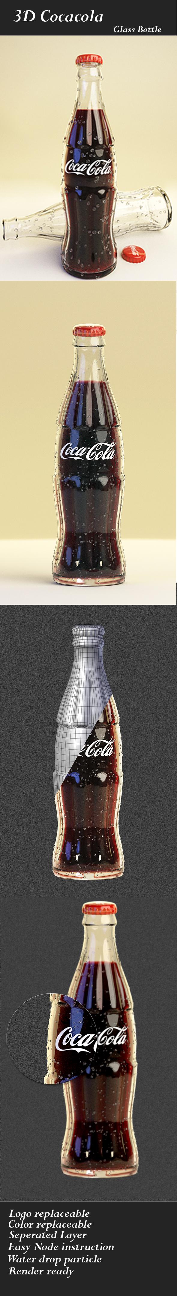 3D Cocacola Glass Bottle - 3DOcean Item for Sale