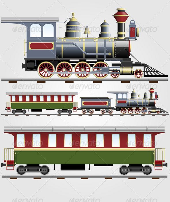 GraphicRiver Retro steam train with coach 1580738