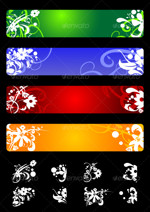 Banners with flowers - Decorative Vectors