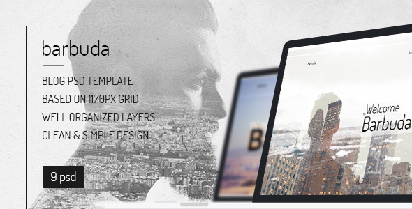 Barbuda — Multipurpose Simple Personal Blog PSD Template