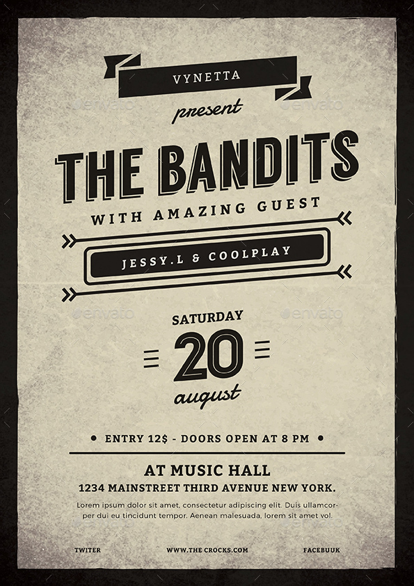 Vintage Typography Music Poster Flyer by vynetta – Typography Flyer