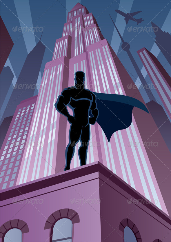 Superhero in City - Characters Vectors