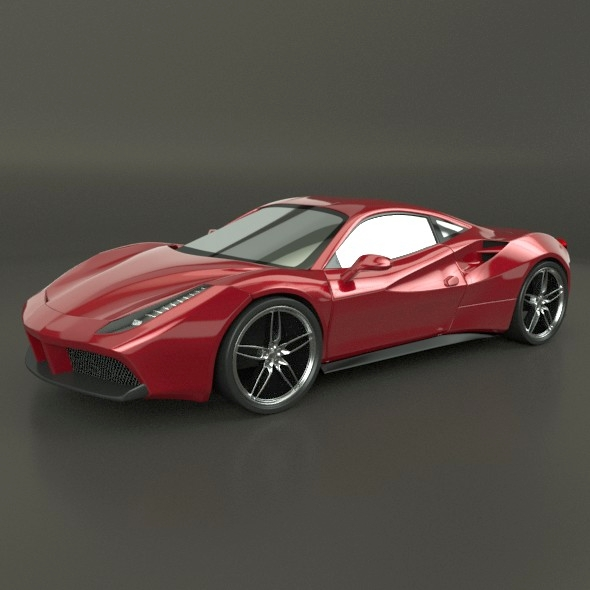 Ferrari 488 GTB restyled racing car - 3DOcean Item for Sale