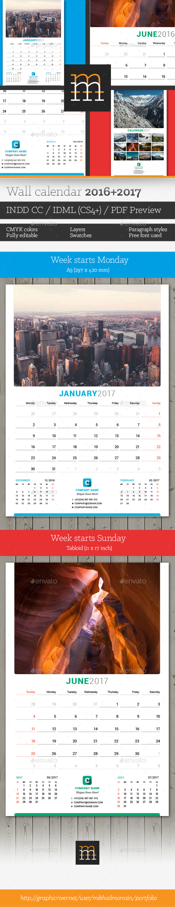 2016-2017 Wall Calendar