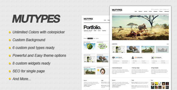 Mu Types - Clean Business WordPress Theme - The theme preview image.