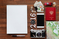 Travel background 2016 year. Different things you need for journ