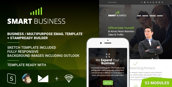 Download Business - Multipurpose Responsive Email Template + Stampready Builder nulled download