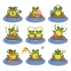 Frogs Sitting on Stones Character Set