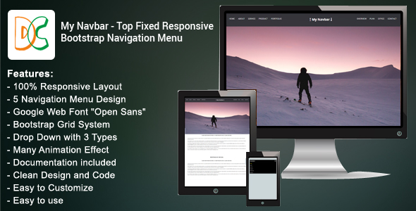 My Navbar - Top Fixed Responsive Bootstrap Navigation Bar - CodeCanyon Item for Sale